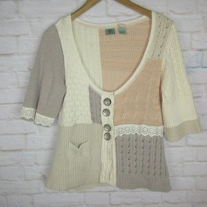 HWR Anthropologie women's size Large White Taupe C